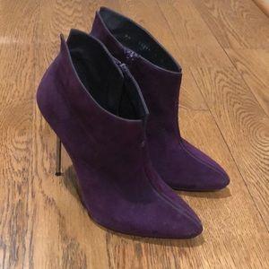 Purple stiletto booties